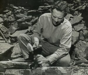 Harvey Fite in the quarry at Opus 40