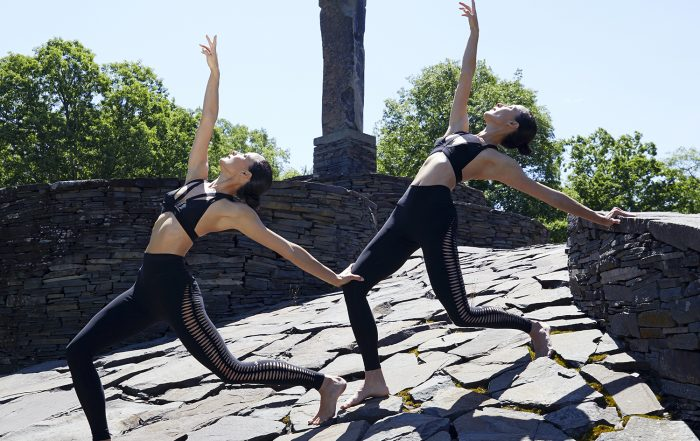 Photo by Nigel Barker of the Chin Twins at Opus 40 in Saugerties, NY